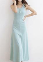 秋装新款女装纯棉背心裙子无袖连衣裙 甜美收腰显瘦纯色打底长裙 价格:58.00