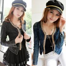 包邮新款秋装韩版女装显瘦复古弹力牛仔上衣短款牛仔短外套长袖潮 价格:65.55