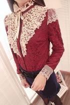2013新款女装,日系甜美蕾丝花边立领双层打底衫开衫, 蕾丝衫上衣 价格:62.30