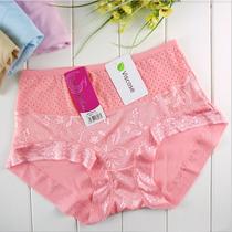4条包邮 女士内裤高腰大码竹纤维抗菌蕾丝透明性感纯棉送胖MM妈妈 价格:6.50