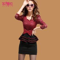 欧得拉 女装秋装2013新款 潮 韩版 蕾丝拼接连衣裙修身 包臀Q3842 价格:159.00
