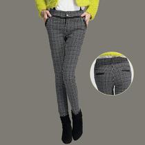 2013秋装新款时尚休闲女裤 显瘦格子小脚铅笔裤 女大码格子长裤潮 价格:102.96