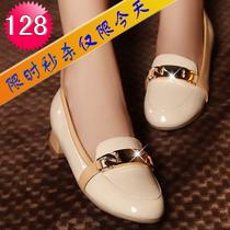 2013新款平跟单鞋女秋圆头平底韩版真皮女瓢鞋 舒适简约女式鞋子 价格:128.00