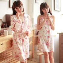特价包邮 秋季新款 睡袍两件套 纯棉睡衣女套装 吊带裙+浴袍 全棉 价格:69.00