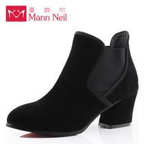 欧美新款女靴尖头 真皮及裸靴 粗跟马丁靴秋季靴 羊皮中跟短靴女 价格:168.00