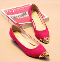 2013夏VIVI新款金属感蝴蝶装饰尖头单鞋 糖果色西施绒坡跟女鞋子 价格:12.80