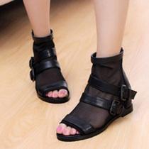 2013春夏款欧美时尚网面皮带扣鱼嘴低跟后拉链罗马风格女凉鞋 价格:38.00
