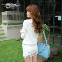 2013秋季新品女装韩版白色重工圆领镂空绣花上衣百搭长袖T恤A3091 价格:158.00
