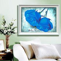 精准印花3D十字绣最新款客厅蓝色妖姬玫瑰图shizixiu卧室系列包邮 价格:15.00