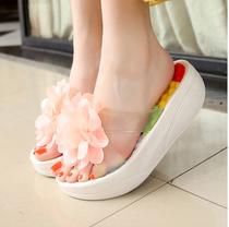 夏季女凉拖鞋花朵坡跟松糕一字拖女厚底沙滩鞋摇摇鞋凉鞋拖鞋包邮 价格:25.20