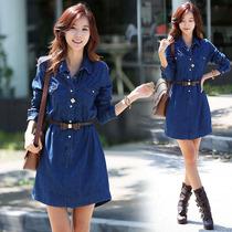 2013春装韩版新款 长袖牛仔裙 女装连衣裙 立领长T公主裙 送腰带 价格:108.00