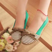 女鞋子新款2014甜美蝴蝶结浅口鞋平跟舒适帆布鞋休闲条纹女士单鞋 价格:35.00
