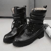 2013冬季新韩国系带马蹄跟短靴魔术贴圆头橡胶底真皮马丁靴女靴 价格:189.00