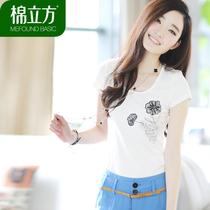棉立方2013夏装新款 韩版大码女装修身绣花蕾丝短袖圆领棉T恤女士 价格:83.30