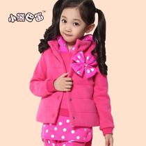 童装女童秋冬装新款加厚加绒大花卫衣三件套7 89-12-15岁女孩套装 价格:118.00
