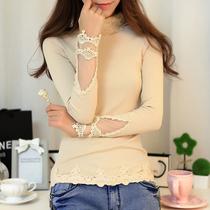 2013秋装新款女装 韩版高领修身水溶蕾丝长袖大码针织打底衫毛衣 价格:79.00