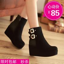 新款及裸靴坡高跟铆钉拉链气质大小码短靴女式春秋马丁厚底单靴子 价格:85.00