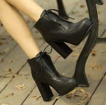 爆款正品2013秋冬新款短靴�靴粗跟高跟防水台欧美真皮潮裸靴女鞋 价格:238.00