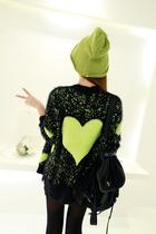 SOME TIME 秋季新款 植绒点点爱心马海毛V领毛针织开衫 价格:85.00