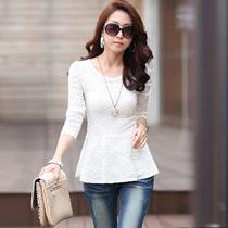 茁美2013夏装 新款女装韩版修身蕾丝上衣长袖 圆领套头蕾丝衫包邮 价格:68.00