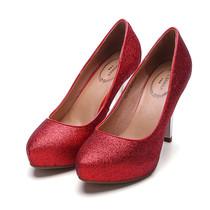 2013春秋款千百度专柜正品单鞋女红色婚鞋细跟尖头结婚女鞋子包邮 价格:138.00