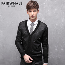 马克华菲JEANS 秋装男士开衫 修身印花长袖针织衫正品男装 2009 价格:299.00