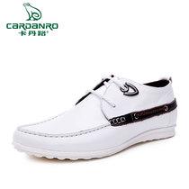 卡丹路正品夏季英伦真皮男士白色休闲皮鞋男鞋子韩版潮流单鞋流行 价格:298.00