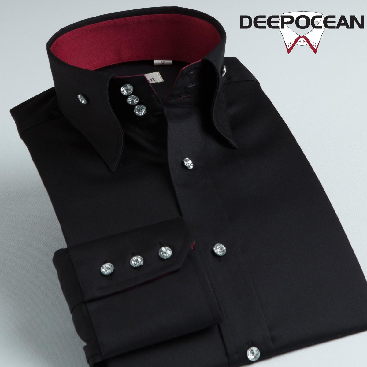 DeepOcean深海男士衬衫长袖2013春秋黑衬衣韩版修身潮 丝光棉男装 价格:168.00