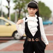 大女童秋装新款套装2013潮9 7 10 13岁哈伦背带裤女孩子休闲套装 价格:97.76