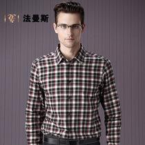 法曼斯 2013秋装新款男装 中年男士格子衬衫长袖 羊毛保暖衬衣男 价格:519.00