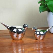 现代简约陶瓷镀银小鸟摆件/外贸时尚创意摆设礼品礼物/家居装饰 价格:25.60