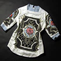 2013秋装新欧美巴尔曼复古钉珠中袖外单重工钉珠十字绣上衣 价格:488.00