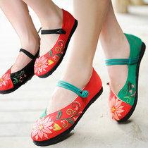 菱花@汉舞中国风老北京传统布鞋工艺千层底绣花帆布盘扣单鞋女鞋 价格:68.00