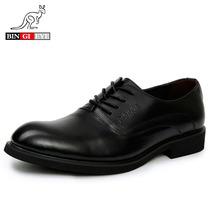 意大利袋鼠三角头 皮鞋 男 真皮 正品 透气 黑色系带商务正装男鞋 价格:169.00