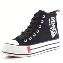 正品人本 新款女款帆布鞋 韩版潮流女士高帮字母时尚松糕厚底单鞋 价格:56.05