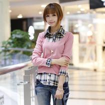 2013夏装新款衬衫领假两件套女装长袖t恤中学生少女体恤韩版潮 价格:49.00