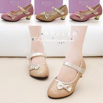 春秋新款女童皮鞋 韩版公主高跟鞋 金色跳舞鞋儿童单鞋拉丁女童鞋 价格:63.00