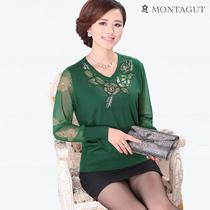 秋装新品女士蕾丝袖羊绒针织衫V领钉珠套头衫中年妇女淑女薄上衣 价格:117.60