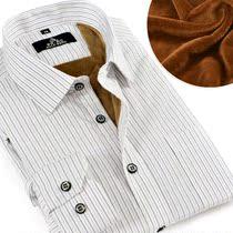 罗浮宾仕 冬季商务男士保暖衬衫加厚加绒衬衫男条纹衬衣长袖衬衫 价格:69.00