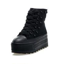 黑色高帮厚跟板鞋蛋糕女鞋厚底松糕帆布鞋韩版潮2013新款高邦秋鞋 价格:138.00