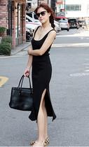 欧美大牌女装性感侧开侧长裙吊带背心裙修身包臀显瘦莫代尔连衣裙 价格:44.00