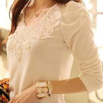 2014春装新款女装上衣 韩版修身圆领泡泡袖长袖女t恤蕾丝打底小衫 价格:49.00