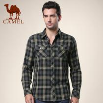骆驼男装长袖衬衫2013秋装新款男士磨毛加厚保暖绿格子衬衣107020 价格:188.00