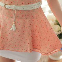 2013夏季清仓韩版正品missfox两件套印花荷叶喇叭雪纺衫+包臀短裙 价格:75.00