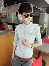 epinzone2013流行男式装 日系条纹7分袖衬衫 男时尚修身衬衣5753 价格:73.00