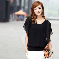 乔玄 2013新款女装上衣 韩版蝙蝠袖圆领大码 女雪纺衫夏 短袖显瘦 价格:59.00