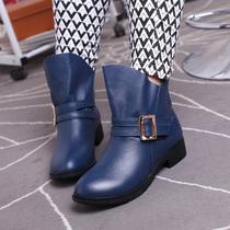 大丫丫 秋款大码女鞋40-43牛皮皮带扣方跟圆头大号单靴短靴5011-1 价格:258.00