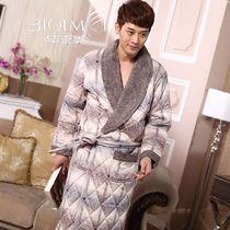 男士睡袍 秋冬季 加厚男式长袖珊瑚绒夹棉保暖男睡袍浴袍家居服 价格:169.00
