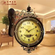 欧式实木双面挂钟 仿古静音大号石英钟表 田园客厅创意时钟摆包邮 价格:249.00