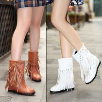 短靴 女 2013秋冬季新款内增高流苏靴子高跟雪地靴保暖女靴子包邮 价格:59.90